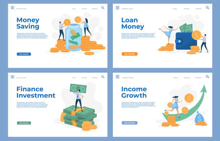 Finance landing pages with flat characters and money cash. Savings, business investment, loan and income growth vector website templates set 向量圖像