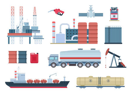 Oil industry and gas production elements, refinery and drilling platform. Fuel transportation, tank truck and ship. Petroleum rig vector set