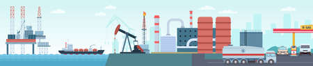 Oil petroleum industry extraction, production and transportation infographic. Sea rig, tanker, refinery plant and gas station vector concept 向量圖像