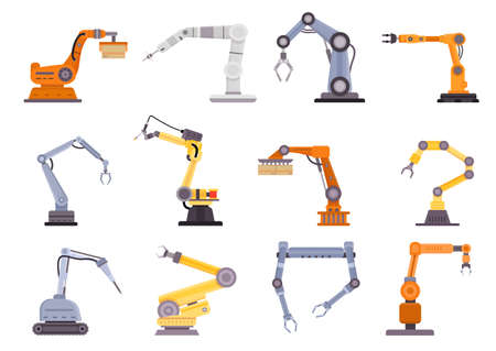 Factory robot arms, manipulators and cranes for manufacture industry. Flat mechanic control tool, automation technology equipment vector set 向量圖像