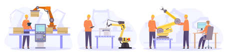 Engineers control, check and repair automated robot arms. Flat smart factory inspection. Manufacturing industry automation vector concepts 向量圖像