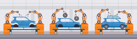 Industry robot arm assemble cars on conveyor belt. Automobile factory automated manufacture. Flat machine construction line vector concept