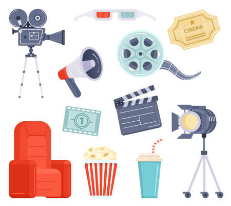 Flat movie watching and production element, cinema ticket, film and popcorn. Cartoon video camera, director megaphone and clapper vector set