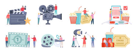 Flat tiny characters recording, making and watching movies. Film director, shooting crew, people at cinema. Movie production team vector set 向量圖像