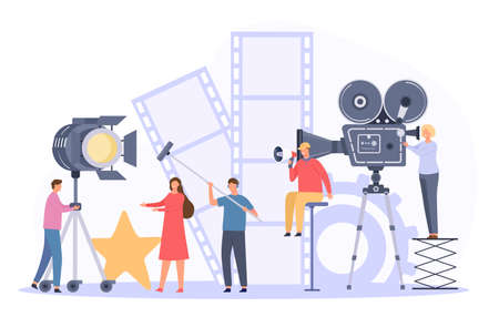 Movie production team shooting film actor on camera. Flat cinema director and crew record video scene. Movie making industry vector concept 向量圖像