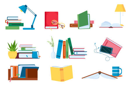 Reading literature, flat book stacks and piles for study. Open and closed books with lamp. Bookstore, school or audiobook vector concept set