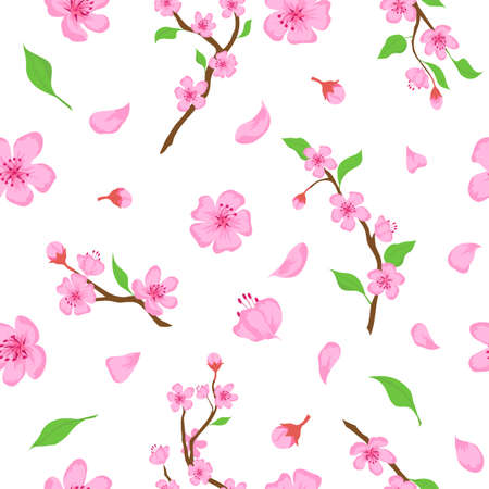 Pink sakura blossom flowers, petals and branches seamless pattern. Japanese spring cherry blooming print. Romantic floral vector wallpaper
