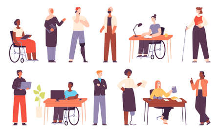 Diverse people work, office multicultural workers or students. Muslim business woman. Inclusion workplace with disabled character vector set
