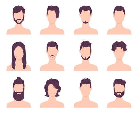 Cartoon men avatars fashion hairstyles, mustaches and beards. Male modern short and long haircuts. Barber shop hair style icons vector set Illusztráció