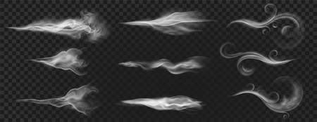 Realistic wind blow swirls, smoke air or hot steam. Curved flow waves, mist, aroma or perfume clouds effect. White blowing stream vector set