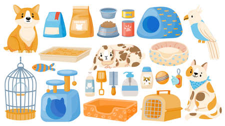 Care tools and accessory for domestic animals, dogs, cats and parrots. Cartoon pet store items, food, carrier, bowl, toy and beds vector set Illusztráció