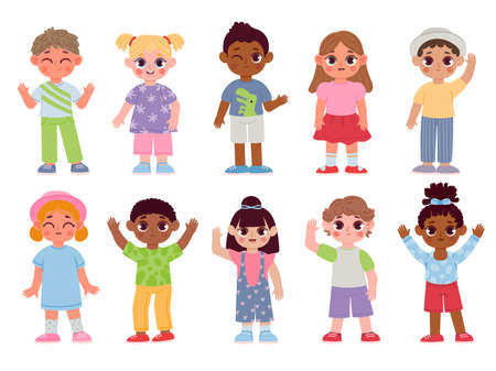 Happy diverse kids characters waving hands and greeting. Cartoon children boys and girls with bye or hello gestures. Flat student vector set