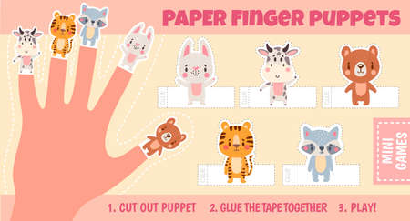Paper animal finger puppets worksheets for kids hand. Handmade theatre activity. Children cut craft page with cartoon dolls vector template