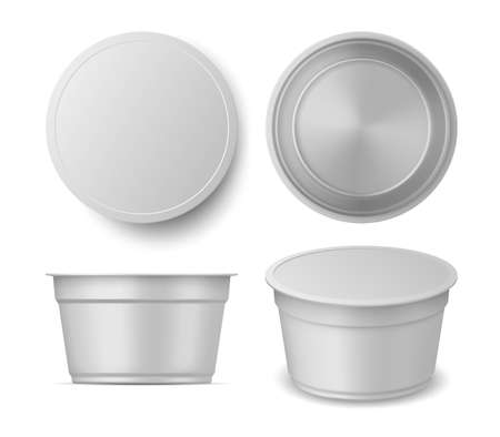 Realistic yogurt or ice cream container cup mockup views. Blank plastic dairy packaging top, front and perspective. Yoghurt pack vector set