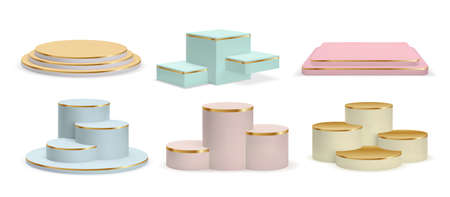 Realistic golden podiums, cylinder pedestals and display platforms. Luxury product 3d show room in pastel colors with gold stairs vector set