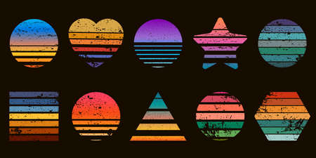 Retro striped sunset prints in heart, star and circle shapes. 80s t-shirt design with beach sunrise. Geometric sea surfing logo vector set