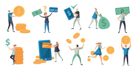 Flat tiny characters paying with money, card and phone. People holding cash, bill and coins. Refund, exchange and payment vector concept set