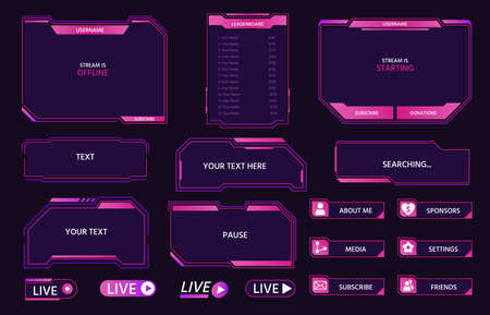 Live stream interface overlay frames for gamer broadcast. Cyber hud screen, panels, buttons and icons design for game streaming vector set