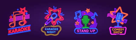 Neon signs for karaoke club and stand up comedy show. Music and song singing party night glowing signs. Karaoke bar event poster vector set