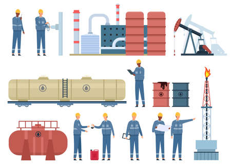 Flat oil engineer workers and gas industry buildings. Petroleum rig, refinery, fuel tanks and barrels. Oil pipeline inspection vector set Illusztráció