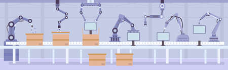 Flat automated robot arms on factory assembly line. Manufacture conveyor with products and boxes. Industry automation machine vector concept