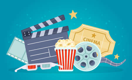 Movie poster with film reel, clapboard, popcorn and tickets. Banner for watch movies with 3d glasses. Cartoon cinema theater vector concept Stock fotó