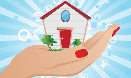 House on the palm of your hand Vector