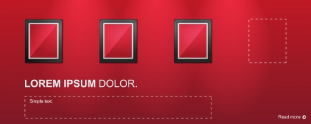 Empty Pictures on red wall  Vector