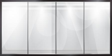 ガラス ショーケース光沢のある飼料製品プレゼンテーション  イラスト・ベクター素材