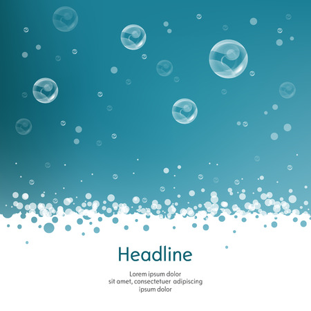 water bubbles: Bubbles with straw on blue background. Isolated. Vector illustration. 10 EPS