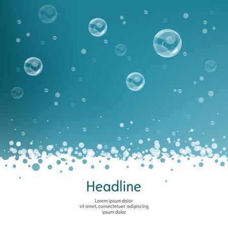 burbujas jabon: Burbujas con paja en el fondo azul. Aislado. Ilustración del vector. 10 EPS