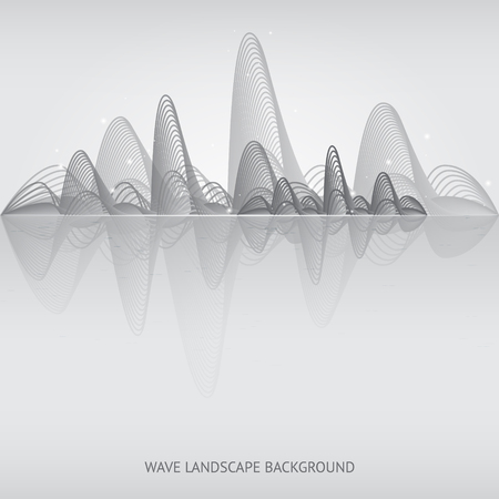 wave landscape background. Vector illustration. Isolated. 10 EPS