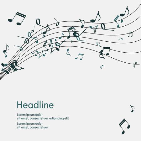 bass clef: Resumen música de fondo con notas. Aislado. Ilustración del vector. Vectores