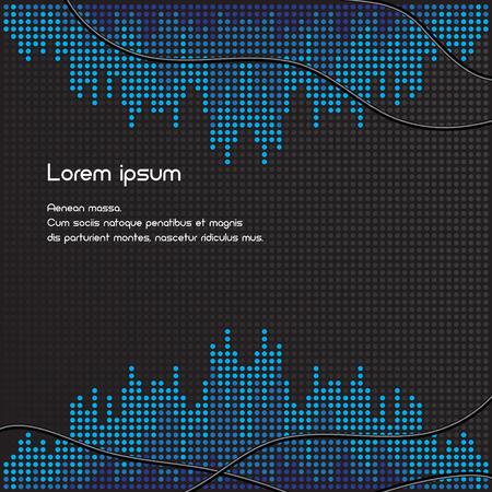 soundtrack: Black and blue volume background illustration. Isolated. 10 EPS