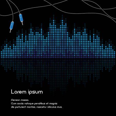 vibrations: Black and blue volume background illustration. Isolated. 10 EPS