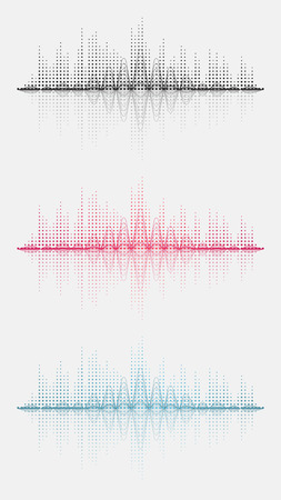 Three sound wave. Vector illustration. Isolated. 10 EPS