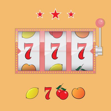 bandits: Casino slot machine realistic isolated on orange background vector illustration