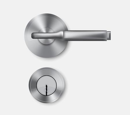 door handle: Metal door handle and door lock. Isolated. Vector illustration.