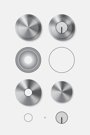 doorknob: Metal round door handle and door lock. Isolated. Vector illustration Illustration