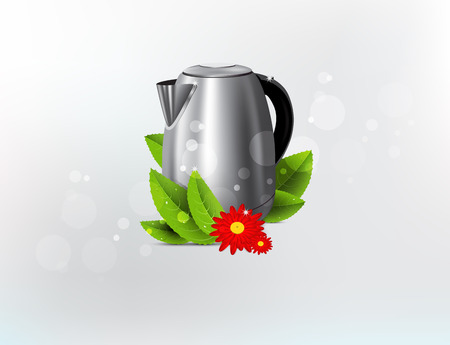 steam cooker: Metal kettle background. Isolated. Vector illustration. 10 EPS