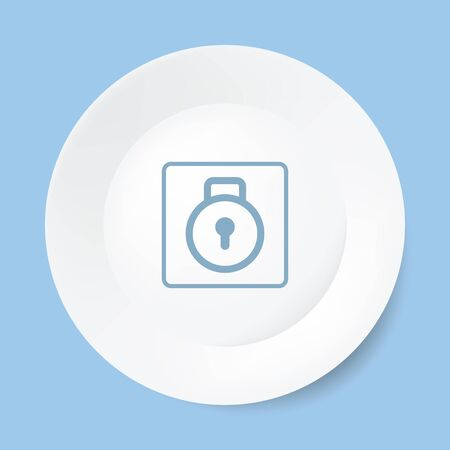 Empty white plate with lock. Vector illustration. Isolated. 10 EPS