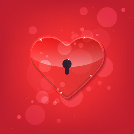 shiny heart: Red shiny heart lock shape. Vector illustration. Isolated. 10 EPS