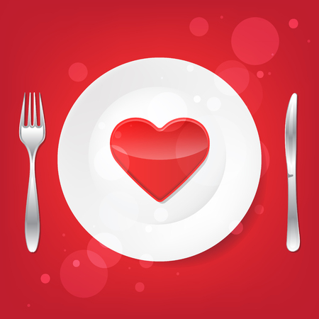 Lovely food. Fork and knife and heart on the plate. Isolated. Vector ilustration. 向量圖像