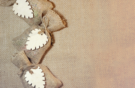 bonbonniere: Two bonbonniere of a  wedding. The cloth background.