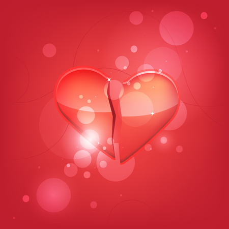Broken heart isolated on red background. Isolated. Vector illustration.