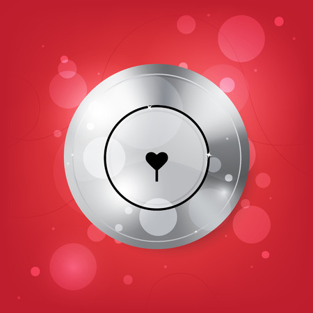 locking: Locking hole in the form of heart. Isolated. Vector illusatrtion.
