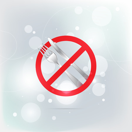 Stop eating simbol with fork and knife. Vector illustration. Isolated. 10 EPS.