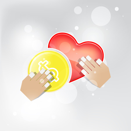 love of money: Concept of love and money in a relationship.