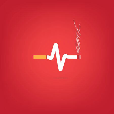 Consept of cigarette heart bit on red background