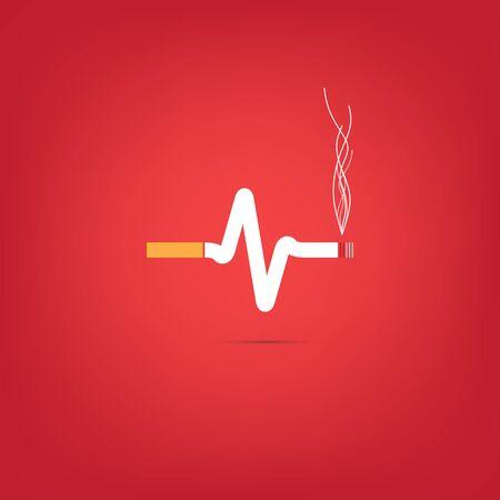 consept: Consept of cigarette heart bit on red background
